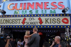 Lesley M. and Sean go in for the World's Longest Kiss. -photo abc.com