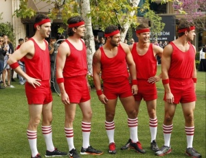 The guys are ready for dork...er...dodgeball. Photo Credit: abc.com
