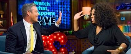 Oprah and Andy high five! Credit: Bravotv.com