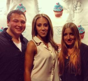 TBB's Brent Osborne, Melissa Gorga, and Sweet Spot owner Melina Milionis .