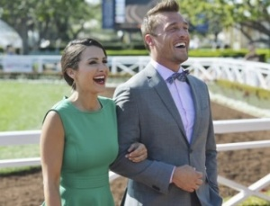 Andi and PeeWee Herman...er Farmer Chris...at Santa Anita Park. Credit: abc.go.com