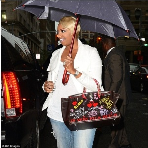 Nene Leakes in NYC with her controversial handbag. Credit GC images/The Daily Mai
