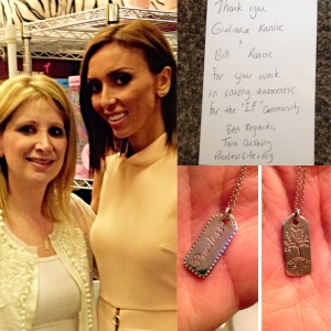 Clockwise from Top: The note I wrote to the Rancics, Priceless Life's silver double sided hangtag pendant by Good Charma Inc, my photo op with Giuliana.