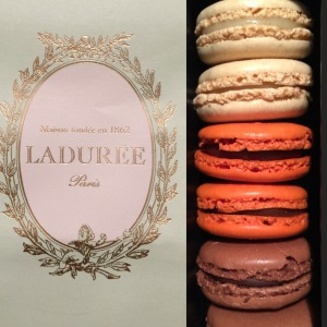 Laduree's signature bag and 6 set of macarons given to guests of its swank Halloween Fete with children's clothier Bonpoint.